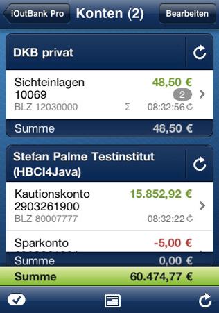 iPhone App: iOutbank für 0,79 Euro - Ein Screenshot eines Handys - Smartphone
