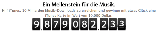 iTunes: für den 10 Milliardsten Song 10.000 Dollar iTunes Gutschein gewinnen - Eine Nahaufnahme von einem schwarzen Hintergrund - Logo