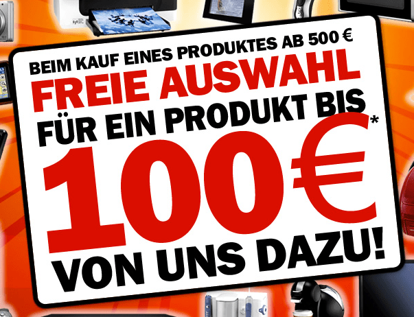 Media Markt Agenda Abräumer: 1 Produkt bis 100 Euro geschenkt - Ein oranges Schild an einer Stange - Kfz-Kennzeichen