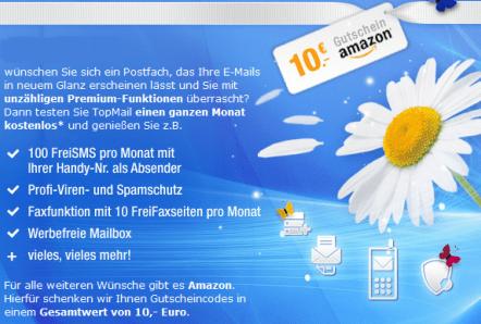 10 Euro Amazon Gutschein von GMX - Ein Screenshot eines Social-Media-Beitrags - Onlinewerbung