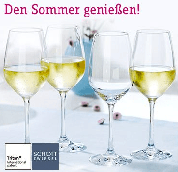 4 stilvolle Weingläser gratis - Ein Tisch mit Weingläsern - Weißwein