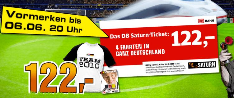Saturn Aktion: 4x Bahn Ticket = 122 Euro - Eine Nahaufnahme von einem Schild - Mannschaftssport