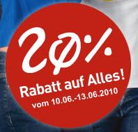 Heute: 20% auf alles bei C&A - Eine Nahaufnahme von einem Schild - Logo