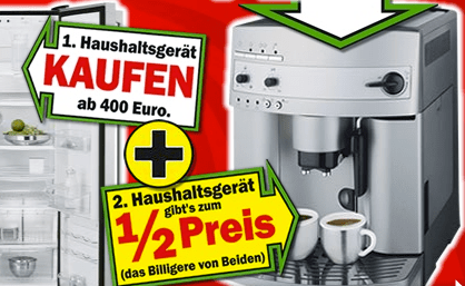 Haushaltsgeräte: Clever sparen bei Media Markt - Eine Nahaufnahme von einem Schild - Kaffeemaschine