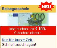 100 Euro Gutschein für eine Expedia Pauschalreisen-Buchung - Ein Screenshot eines Handys - Papier