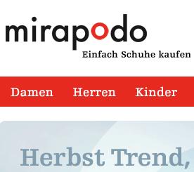 Mirapodo Gutschein: 15 Euro geschenkt ab 75 Euro Mindestbestellwert - Ein Screenshot eines Handys - Logo
