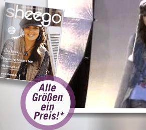 shegoo Neukundengutschein: 15 Euro für Damenmode - Eine Person mit einem Schild - Werbung