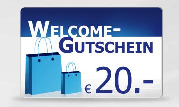 Heine schenkt Neukunden 20 Euro Gutschein - Ein blaues und weißes schild - Logo