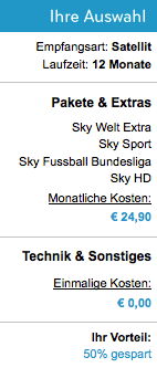 Sky günstig bestellen: 12 Monate Sport inkl. HD für 24,95 Euro/Monat - Ein Screenshot eines Handys - Lotterie