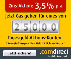 25.000 Tagesgeldkonten mit 6 Monate Zinsgarantie zu 3,5% Zinsen p.a. - Ein Screenshot eines Handys - Geldmarktkonto