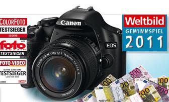Spiegelreflex-Kamera Gewinnspiel bei Weltbild - Eine Nahaufnahme von einer Kamera - Canon EOS 500D