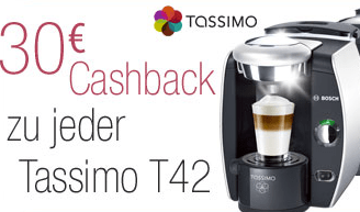 30 € Cashback beim Kauf einer Tassimo T42 - Eine Tasse Kaffee - TASSIMO
