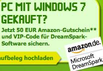 Studenten: PC mit Windows 7 Home gekauft? 50 € Amazon Gutschein geschenkt! - Eine Nahaufnahme von einem Schild - Banner