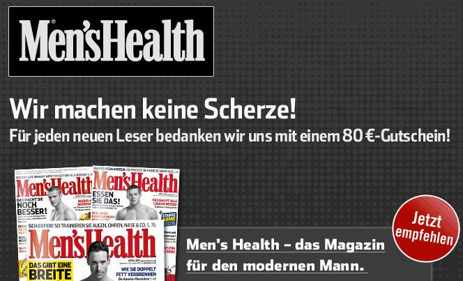 Men's Health Abo Angebot: 2 Jahre effektiv 10 € - Eine Nahaufnahme von einem Schild - Coupon