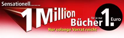 Weltbild Aktion: 1 Million Bücher für je 1 €! - Eine Nahaufnahme von einem Schild - Logo