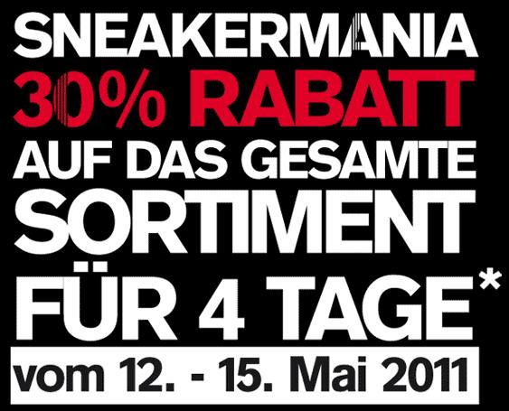 Nur bis 15. Mai: 30 % auf alle Artikel bei Footlocker (vor Ort) - Ein weißes Schild mit schwarzem Text - UFC 141: Lesnar gegen Overeem