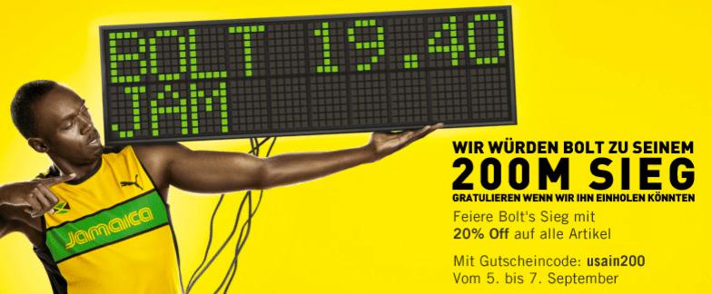 Bei Puma: 20% auf alles bis zum 7. September - Ein Mann mit einem Schild - Werbung