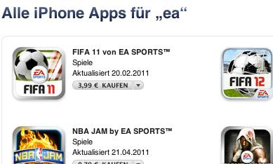 Zahlreiche EA iPhone Spiele für 79 Cent - Ein Screenshot eines Handys - FIFA 11