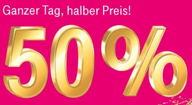 4 Tage lang: 50% auf alle Vertragshandys bei T-Mobile - Eine Nahaufnahme von einem Schild - Logo