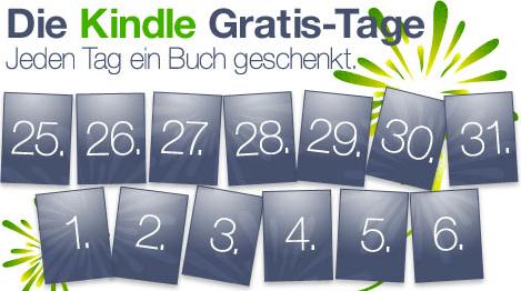 Kindle Gratis Tage: jeden Tag 1 Buch geschenkt - Eine nahaufnahme von text auf einem schwarzen hintergrund - Logo