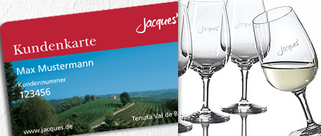 4 original Jacques' Weingläser kostenlos für Kundenkarten-Kunden - Ein Glas Wein - Weinglas