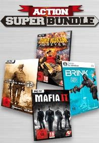 Gamesload Action Super Bundle für 39,95 € - Ein Stapel Flyer auf einem Tisch - Mafia II