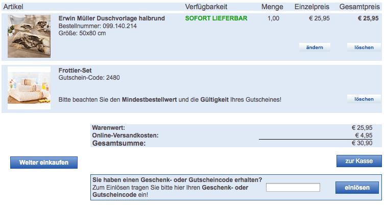 Warenkorb Erwin Müller mit Handtuchset