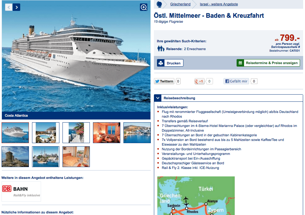Zu sehen sit ein Schiff im Meer mitsamt des Lidl Reisen Angebotes.