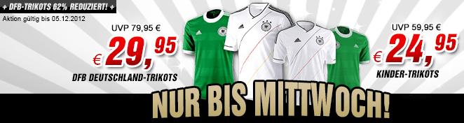 DFB Trickots 12/13 Home + Away – 34,90 € - Eine Nahaufnahme von einem Schild - T-Shirt