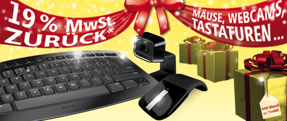 Microsoft Hardware: 19% Rabatt – Rückerstattung durch Microsoft - Ein Laptop sitzt auf einem Tisch - Computer Tastatur
